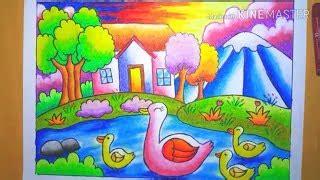 mewarnai gambar pemandangan alam  crayon