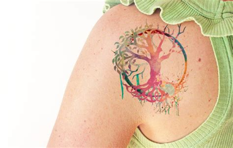 watercolor tattoos tree of life tree of watercolor temporary