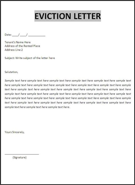eviction notice template word templates