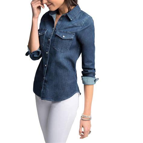edc by esprit s denim shirt sleeve blouse