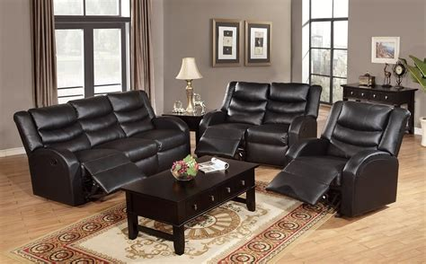 Black Wooden Furniture Living Room Black Leather Reclining Sleeper Sofa Set Combined With Wspresso Wooden Coffee Table Three