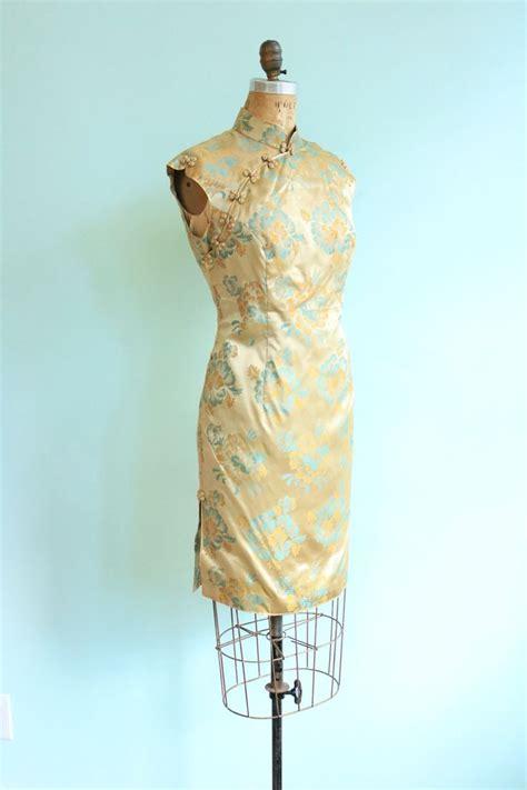Brokat Combi Flower Dress jahrgang 1960 gold floral seide brokat kleid gr 246 223 e small vintage dresses cheongsam