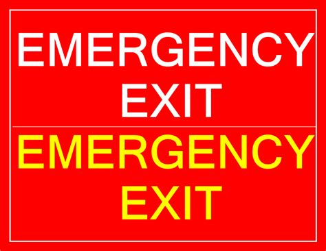 printable emergency exit sign templates