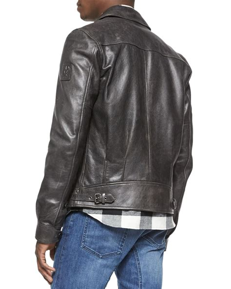 Faded Leather by Belstaff Heritage Faded Leather Jacket In Gray For