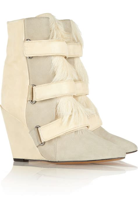 Jelly Wedges Only Creme lyst marant suede leather and calf hair