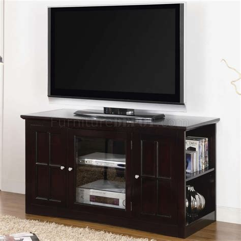 espresso finish modern tv stand w glass door side shelves