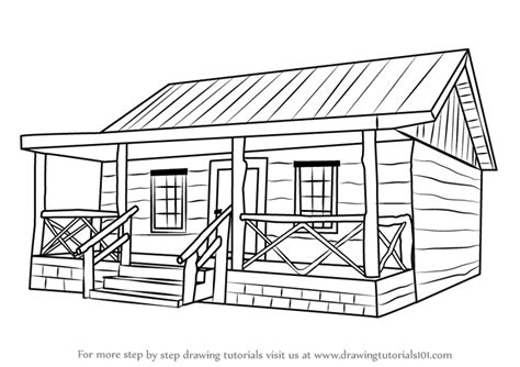 wood house coloring pages step by step how to draw a wood cabin