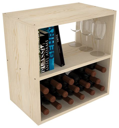 Unfinished Bar Cabinets Horizontal Shelf Cube 12 Quot Depth Conceals Entire Bottle Unfinished Pine Contemporary Wine