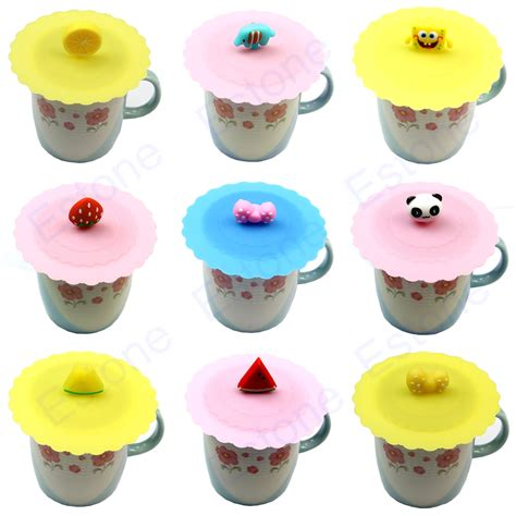 Glass Cup Cute Anti dust Silicone Cover Coffee Mug Suction Seal Lid Cap Cartoon   eBay