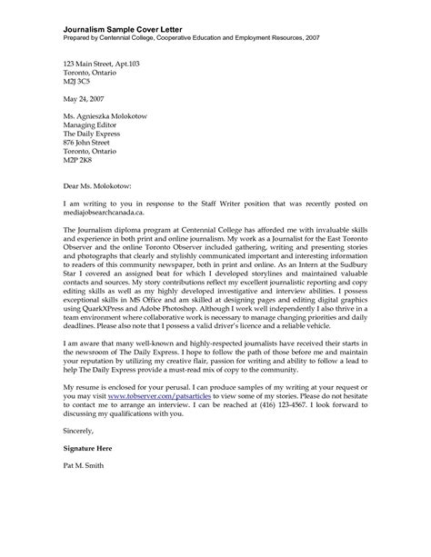 journalism cover letter exles sle journalism cover letter the best letter sle