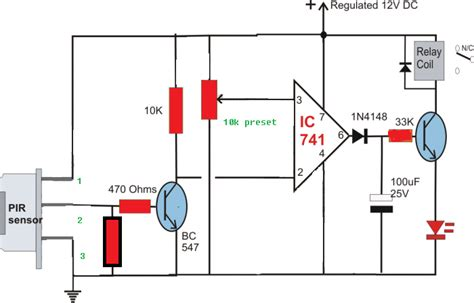 build a passive infrared sensor circuit diagram
