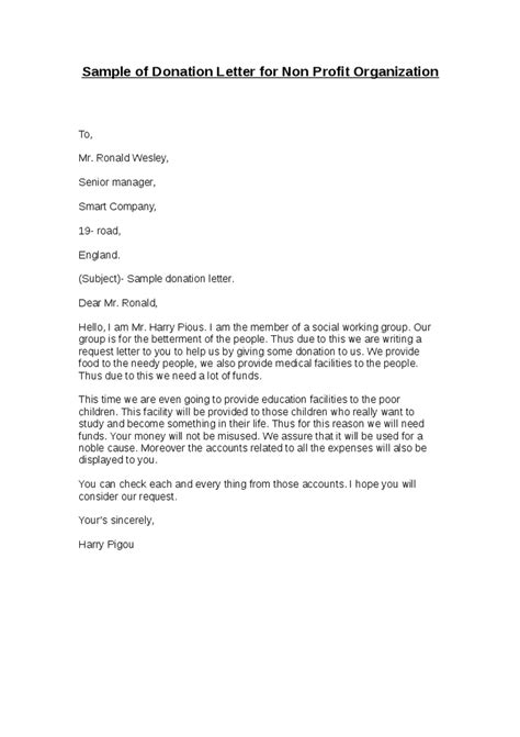 Support Letter For Non Profit Sle Letter Giving A Donation Sle Business Letter