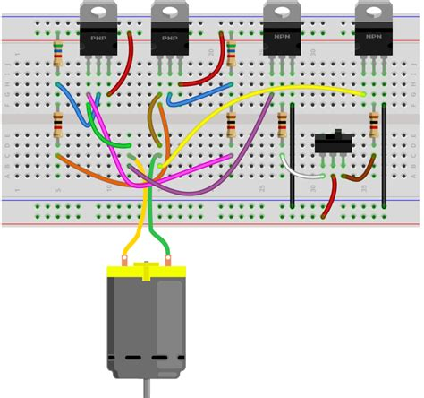 circuit with breadboard how to build an h bridge circuit with transistors