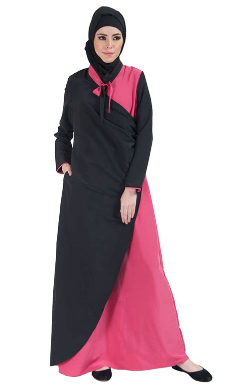 Shopping Colour Block Scarf Dress by Color Block Bow Tie Wrap Around Abaya Dress Pink Shop