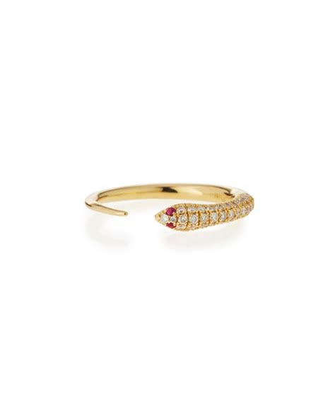 Hello Pave Ring From Neiman by Sydney Evan 14k Pave Snake Ring Neiman