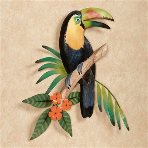 tropical outdoor wall decor toucan in blossoms indoor outdoor wall