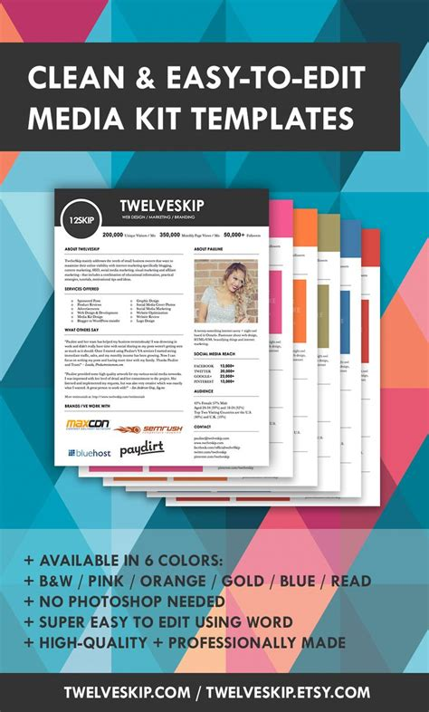 32 Best Media Kit Design Exles Images On Pinterest Media Kit Template Press Kits And Blog Tips Marketing Kit Template