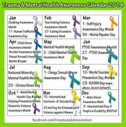 mental health awareness month color 2016 calendar of awareness months calendar template 2016