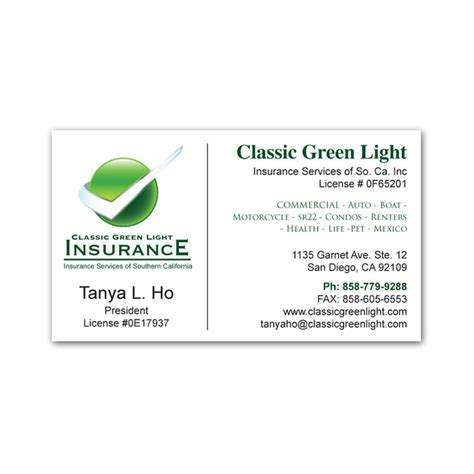 Professional Business Card Template For Insurance Broker With Photo by Business Card Design Franchise Print Shop San Diego