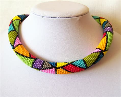 bead crochet colorful bright geometric necklace bead crochet rope