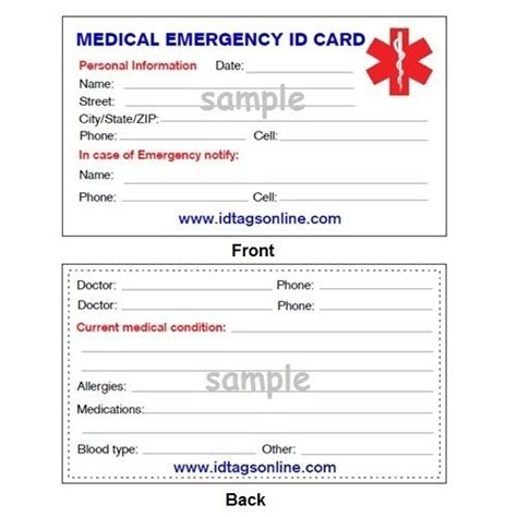 printable emergency id cards medical emergency wallet card for medical alert id