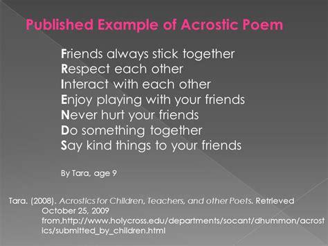 best friend acrostic poem acrostic poems 4th grade acrostic poem ppt