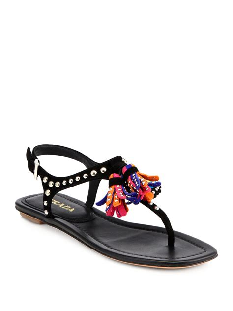 sandals with tassels prada studded suede tassel sandals in black nero black