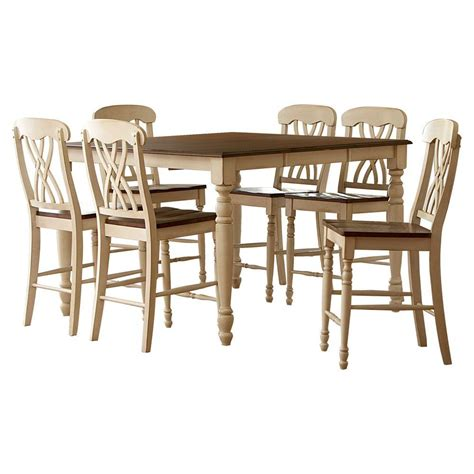 Country Dining Table Sets Homesullivan 7 Country 2 Toned Antique Counter Height Dining Table Set 401393w 36 7pc