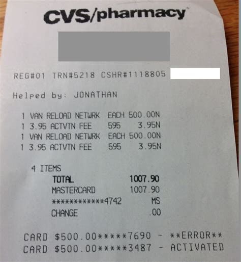 Errors with Vanilla Reloads at CVS   Points Miles & Martinis