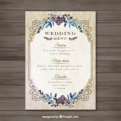 Wedding Menu Template Free by Vintag Wedding Menu Template Vector Free