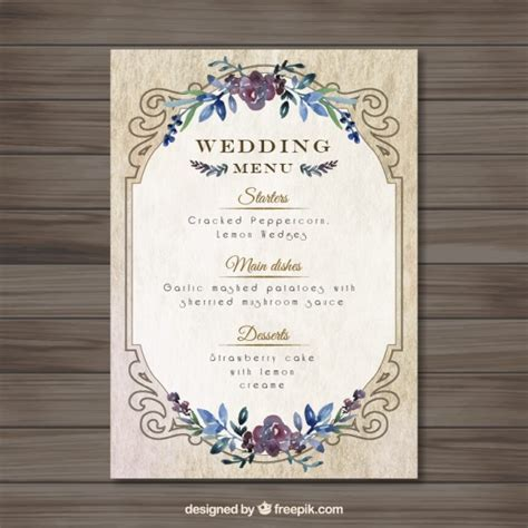 vintag wedding menu template vector free