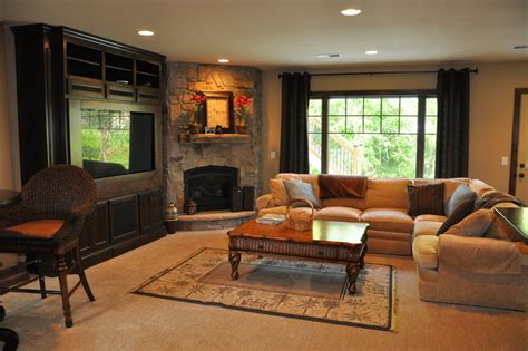 room fireplace corner stone fireplace family room traditional with none