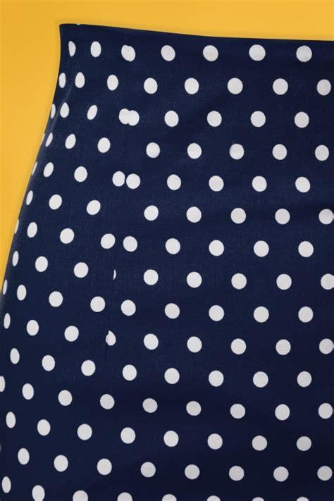 Polka Dot Pencil 50s falda polkadot pencil skirt in navy
