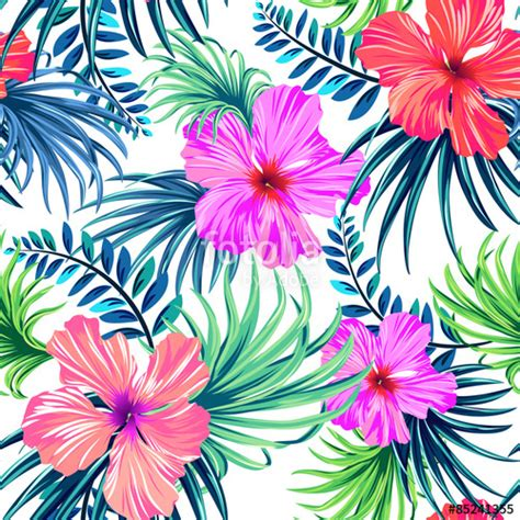 tropical pattern background free quot seamless tropical floral pattern hibiscus and palm