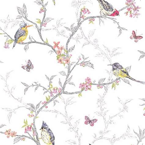 birds and branches shabby chic wallpaper white the