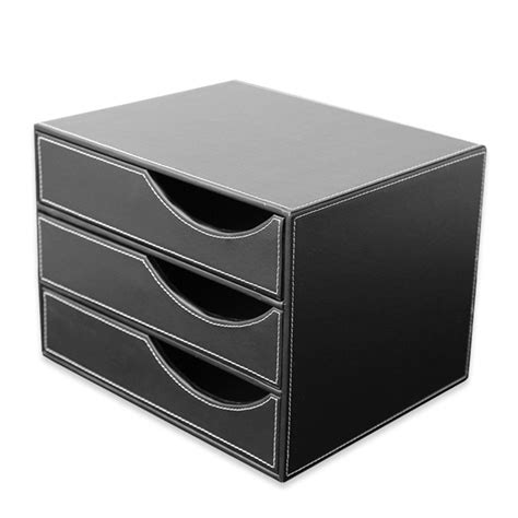 3 drawer pu leather office filing cabinet desk file