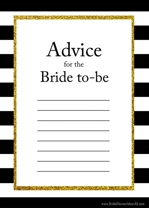 bridal shower advice game printable free printable advice for the bride to be cards