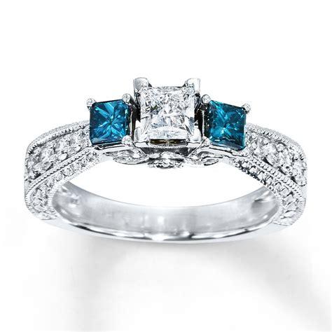 blue ring 1 carat tw princess cut 14k white gold