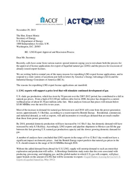 Expedite Request Letter Sle Accf Letter To Doe Sec Ernest Moniz Requesting Expedited Approval Of