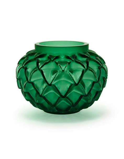 Lalique Green Vase by Lalique Languedoc Small Vase Green