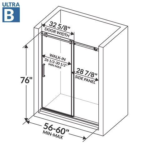 Shower Door Frameless 56 60 W X 76 H Ultra B Brushed Shower Door Width