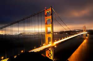 architecture bridge cities city francisco gate golden night san skyline california usa bay sea