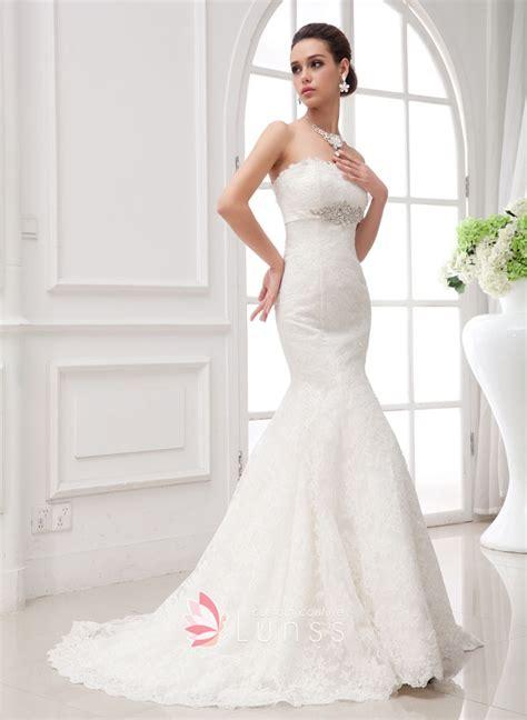white beaded wedding dress designer white lace strapless beaded empire waist mermaid
