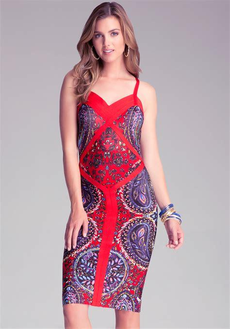 color block midi dress lyst bebe print colorblock midi dress in blue