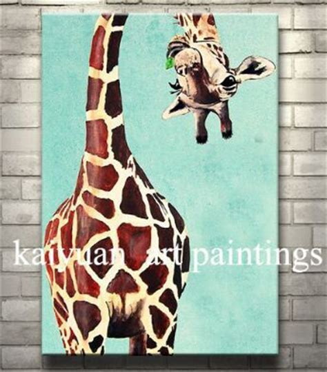 hand painted giraffe art painting  canvas lovely animal