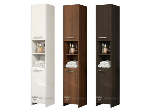 Bathroom Furniture Doors Modern 170cm Bathroom Storage M231 Cabinet Matt Finish 2 Doors 1 Shelf Mex Furniture