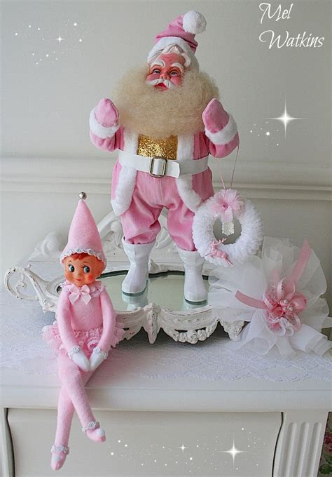 simply  pink elf   shelf images  pinterest pink christmas vintage pink  shelf