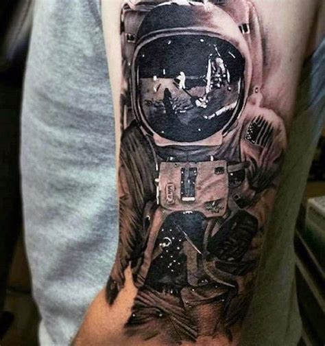 reflection tattoos 100 astronaut designs for spaceflight ideas
