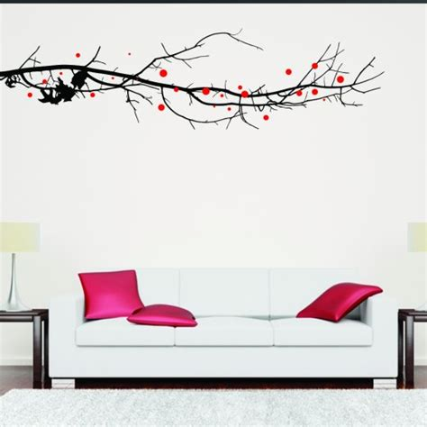 wall stickers large large tree branch with leaves wall sticker wall chimp uk
