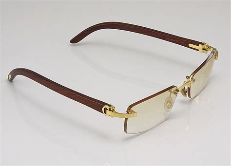 100 authentic cartier 140b wood frame rimless sunglasses